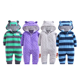 $enCountryForm.capitalKeyWord NZ - 2018 Spring Baby Clothes Polar Fleece Hooded Infants Clothes Coral Fleece Hood Autumn Outfit Toddler Boys Jumpsuit Blue Stripe J190524