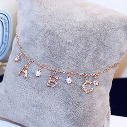 18k anklets Canada - Korean Brand Letter Bracelet with Crystal Zircon Charms Jewelry 18k Golden Plated Wedding Party Bracelets Bangles Anklet Gift for Women
