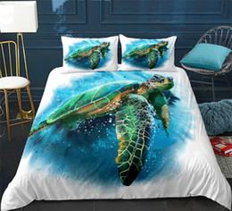 Wholesale Blue ocean animal Bedding set Sea turtle girl Duvet cover set queen turtle in ocean bed for kids Bed line king home textile
