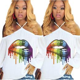 white off shoulder tee 2019 - Women Rainbow Lips Tshirts Summer Off Shoulder Tops Tee Sexy Street T-Shirt Ladies Loose Slash Neck Long Sleeve Oversize