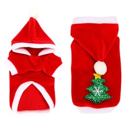 santa coat costume UK - Christmas Dog Clothes Winter Coat Clothing Small Dogs Santa Costume Hood Cute Puppy Outfit For Dog Hoodies
