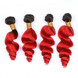 $enCountryForm.capitalKeyWord Australia - #1B Red Ombre Loose Wave 4Bundles Indian Virgin Hair Double Wefts Ombre Bright Red Loose Wavy Human Hair Weave Extensions Mixed Length