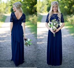 $enCountryForm.capitalKeyWord Australia - Maid Honor Gowns Country Bridesmaid Dresses Hot Long For Weddings Navy Blue Chiffon Short Sleeves Illusion Lace Beads Floor Length CMHP0048