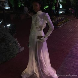 Hot Sexy White Dresses Australia - Hot Sexy White Prom Dresses A Line See Through High Neck Long Sleeve Lace Appliques Formal Evening Party Dresses For Black Girl SP058