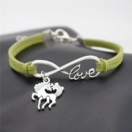 $enCountryForm.capitalKeyWord Australia - Hot Fashion Handmade Trendy Vintage Infinity Love Unicorn Dancing Horse Bracelets Bangles Female Male Punk Green Leather Suede Jewelry Gifts