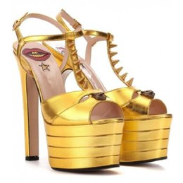 $enCountryForm.capitalKeyWord NZ - Hot Sale-fashion design Women Party Shoes Platform Gladiator Sandals t-strap rivets peep toe heels gold fuchsia sandals