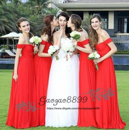 Summer beach wedding dreSSeS for gueStS online shopping - 2019 New Cheap Red Bridesmaid Dresses Off the Shoulder Chiffon Long Summer Beach For Wedding Guest Dress Maid of Honor Gowns Custom Made