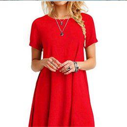 Wholesale Plus Size Red Dresses Australia - Red High Quality Fashion Women Black Blue Dress Summer Short Sleeve O-Neck Casual Loose Dress Female Street Plus Size Dress Vestidos