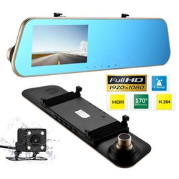 "hd camera for car videos 2019 - 4.3"" Full HD 1080P Car Mirror DVR Dual Lens Front And Back Camera For Car Rear View Mirror Camera DVR Video Recorde"