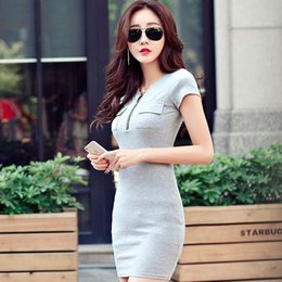 $enCountryForm.capitalKeyWord Australia - Pop2019 Concise Dress Suit-dress Pocket Solid Color Short Sleeve Rendering Skirt Woman
