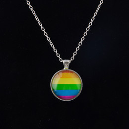Day flags online shopping - Men Women Gay Pride Choker Necklace Rainbow Flag Lesbian LGBT Love Is Love Pride Glass Pendants Necklaces Unique Jewelry