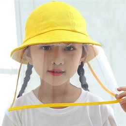 hat transparent Australia - Dust Protection Bucket Hat Fisherman Hat Sun Protective Cap Cotton Cap with Transparent Face Cover for Kids Adults