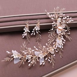 tiaras hair headpieces Australia - Gold Crystal Beads Headband Earrings Set Simulated Pearl Flower Tiaras Jewelry Sets Wedding Bridal Hair Ornaments Headpiece