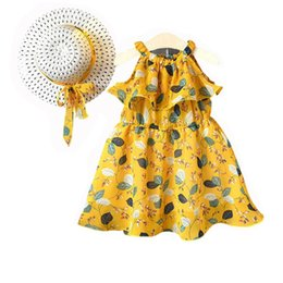 $enCountryForm.capitalKeyWord UK - Baby girls suspender chiffon skirts with sunhats children summer beach dresses kids boutiques clothes 2 colors