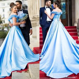 $enCountryForm.capitalKeyWord Australia - Long Fancy Prom Dress Light Blue Evening Off Shoulders Backless Corset Back Dubai Arabic Formal Pageant Party Gown Plus Size robes de soiree