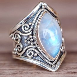 boho rings NZ - Vintage Tibetan Silver Big Resin Crystal Rings For Women Boho Antique Indian Moonstone Ring Fine Turquoises Gift O5n851