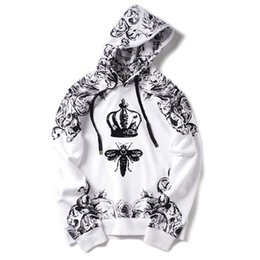 $enCountryForm.capitalKeyWord UK - New High Crown Bee Flocking Classic Unisex Hoodies Hoody Hooded Sweatshirts Velvet Cotton Drake Thicken Fleece