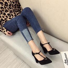 High Heel Sport Woman Canada - Sexy2019 3818 Korean Down Noodles Coarse With High-heeled Woman Pattern Sharp Baotou Cavity Single Shoe Women's Shoes