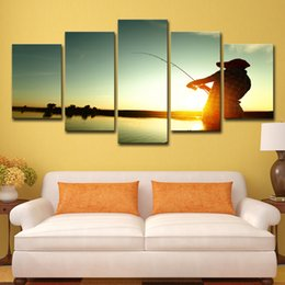 SunSet lake painting online shopping - HD Printed Piece Canvas Sunset Lake Fishing Painting Poster Wall Pictures for Living Room Modern