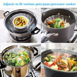 stainless vegetable steamer Australia - 2019 Dish Steamer Cookware Steaming Food Basket Mesh Stainless Steamer Folding Food Fruit Vegetable Vapor Cooker Stainless