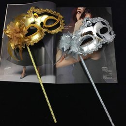 venetian white party mask Australia - 2019 Luxury Woman Mask On Stick Sexy Eyeline Venetian Masquerade Party Mask Sequin Lace Edge Lateral Flower Gold Silver Black White Color