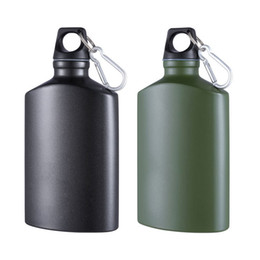 e93af0bcc5 Sports Water Bottle Lightweight Aluminum Flask Outdoor Gadgets Leak-proof camping  water bottle Canteen Oval Kettle 500ml