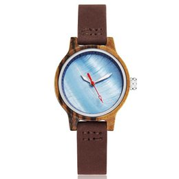 Small Clocks Watch UK - Natural Wood Watch Women Simple Wristwatch Wooden Ladies Charm Small Bracelet Watches Red Wood Walnut Cameo Shell Clock