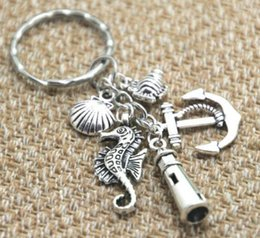 fishing keyrings Australia - Ancient Silver Fish Anchor Lighthouse Seashell Seahorse Charm Keyring Keychain Personality Creativity Beach Jewelry for Women Men Best Gift