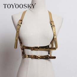 Fullyoung Handmade New Sexy Leather Punk Harajuku Stock Fashion Women Metal Waist Belts Loop Harness Big O-ring Belt Metal Hoop Apparel Accessories