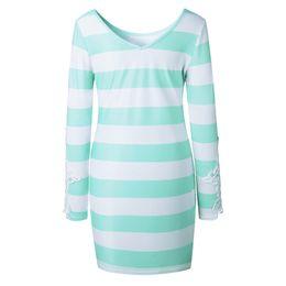 $enCountryForm.capitalKeyWord UK - Summer Fashion Trend Printed Openwork Lace Striped Round Neck Sexy Bag Hip Long Sleeve Female Dress jooyoo