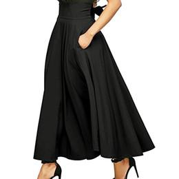 c59c5f8f09e Женская боковая разреза Высокая талия Плиссированный карман Элегантная  винтажная юбка A Line Long Skirt S-XXL Saia Retro Elegante  SYS
