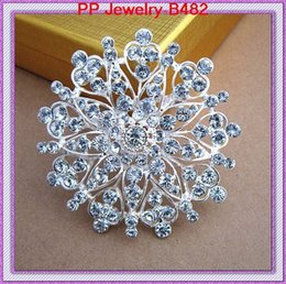 brooch flower needle UK - Luxurious Crystal High Archives Alloy Flower Peach Mind Needle