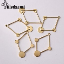 Alloy Findings Australia - Golden Zinc Alloy Charms Geometric Rhombus Shape Connector 6pcs lot For DIY Drop Earrings Jewelry Making Finding Accessories