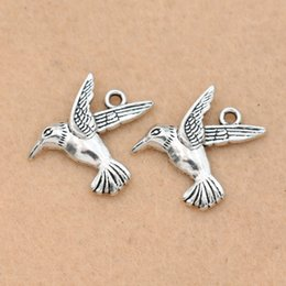 horn charms wholesale NZ - ashion Charms KJjewel Antique Silver Plated Flying Bird Charms Pendants for Jewelry Making Bracelet Accessories Diy Jewelry Findings 25x...