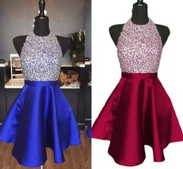 blue crystals Australia - 2019 Fashionable Royal Blue Sparkly Homecoming Dresses A Line Backless Beading Crystal Short Party Dresses For Prom Custom Made