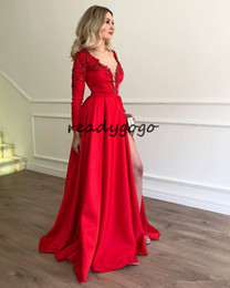 long sleeve red taffeta dress jacket Canada - Sexy Split Prom Formal Dresses with Long Sleeve 2019 Red Lace Stain Abiti Da Festa V-neck Full length Occasion Evening Wear Gowns