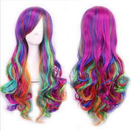 anime curly hair UK - European and American new anime seven-color mixed color wig long curly hair European and American gradient color Harajuku style Halloween pa