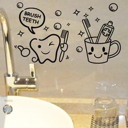 $enCountryForm.capitalKeyWord Australia - Modern Lovely Cost Price Brush Teeth Cute Home Decor Wall Stickers Kids Bathroom Washroom Laundry Room Waterproof Mural Art