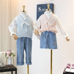 Wholesale spring knitting vest for sale - Group buy Spring kids outfits girls ruffle collar flare sleeve bottoming shirt lace embroidery falbala lace up Bows knit sweater vest sets J2458
