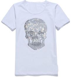Discount men rhinestone t shirts - Mens Womens Streetwear Summer Tshirts Mastermind Shining Diamond Rhinestone Tshirts Skulls Pattern Design Crew Neck Shor