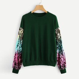Chinese  Spring autumn Fashion Women Sweatshirt 2019 Casual Long Sleeve Sequin O-Neck Pullover lady Flash Sequined Pullover Top Blouse#6 manufacturers