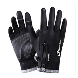 Windproof Thermal Gloves Unisex UK - Outdoor Sports Touchscreen Bike Gloves Winter Thermal Windproof Full Finger Cycling Gloves Anti-slip Bicycle Gloves for Men Women