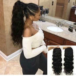 "Discount hair extension colors styles - 4 Colors Available 18"" Long body wave Brazilian Drawstring Ponytail Clip in Extension Style 100% human hair pony ta"