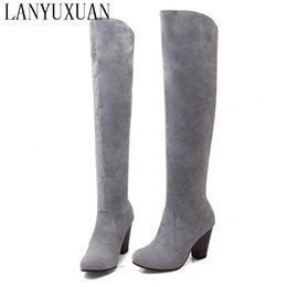 $enCountryForm.capitalKeyWord Australia - 2017 Botas Mujer Big Size 34-43brand Design Patch Color Over The Knee Boots Thick Sole Platform Slim Long Winter Autumn 5049