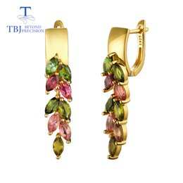 $enCountryForm.capitalKeyWord Australia - Tbj,colorful 4.2ct Natural Brazil Tourmaline Clasp Earring 925 Sterling Silver Gold Fine Jewelry For Lady Wife Party Nice Gift Y19052401