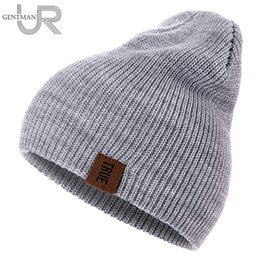 21c48517166 Black Hats For Races UK - 1 Pcs Hat PU Letter True Casual Beanies for Men