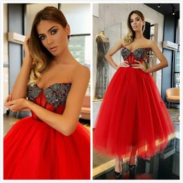 $enCountryForm.capitalKeyWord Australia - Red 50's Beaded Crystals 2019 African Evening Dresses Sweetheart Tea Length Prom Dresses Cheap Tulle Formal Party Bridesmaid Pageant Gowns