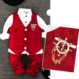 Wholesale 2019 new Child Vest Suit Fashion Kid wedding Summer suits for 3Parts Red and White