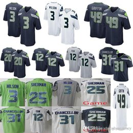 0834c0ecd Men Seattle Seahawks 49 Shaquem Griffin 3 Russell Wilson Jersey 20 Rashaad  Penny 12th Fan 31 Kam Chancellor 25 Richard Sherman Jerseys