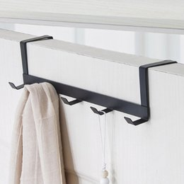 Discount over door hook wholesale - Over The Door 5 Hooks Home Bathroom Organizer Rack Clothes Coat Towel Hanger Bathroom Accessories Handdoek haakjes Door